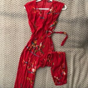 Red Cropped Floral Jumpsuit